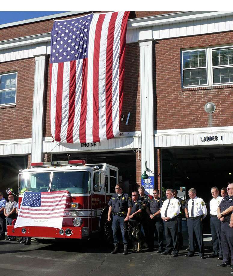 The town will hold its annual ceremony Thursday at 9 a.m. marking the anniversary of the Sept. 11 terrorist attacks. Photo: Genevieve Reilly / Fairfield Citizen