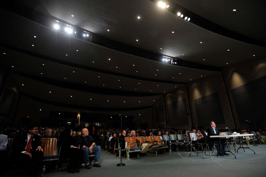 The state's Bipartisan Task Force on Gun Violence Prevention and Children's Safety held a public hearing at the Newtown High School auditorium in January 2013. The school district is considering a $3.5 million renovation of the auditorium. Photo: Jason Rearick, The Stamford Advocate / The News-Times
