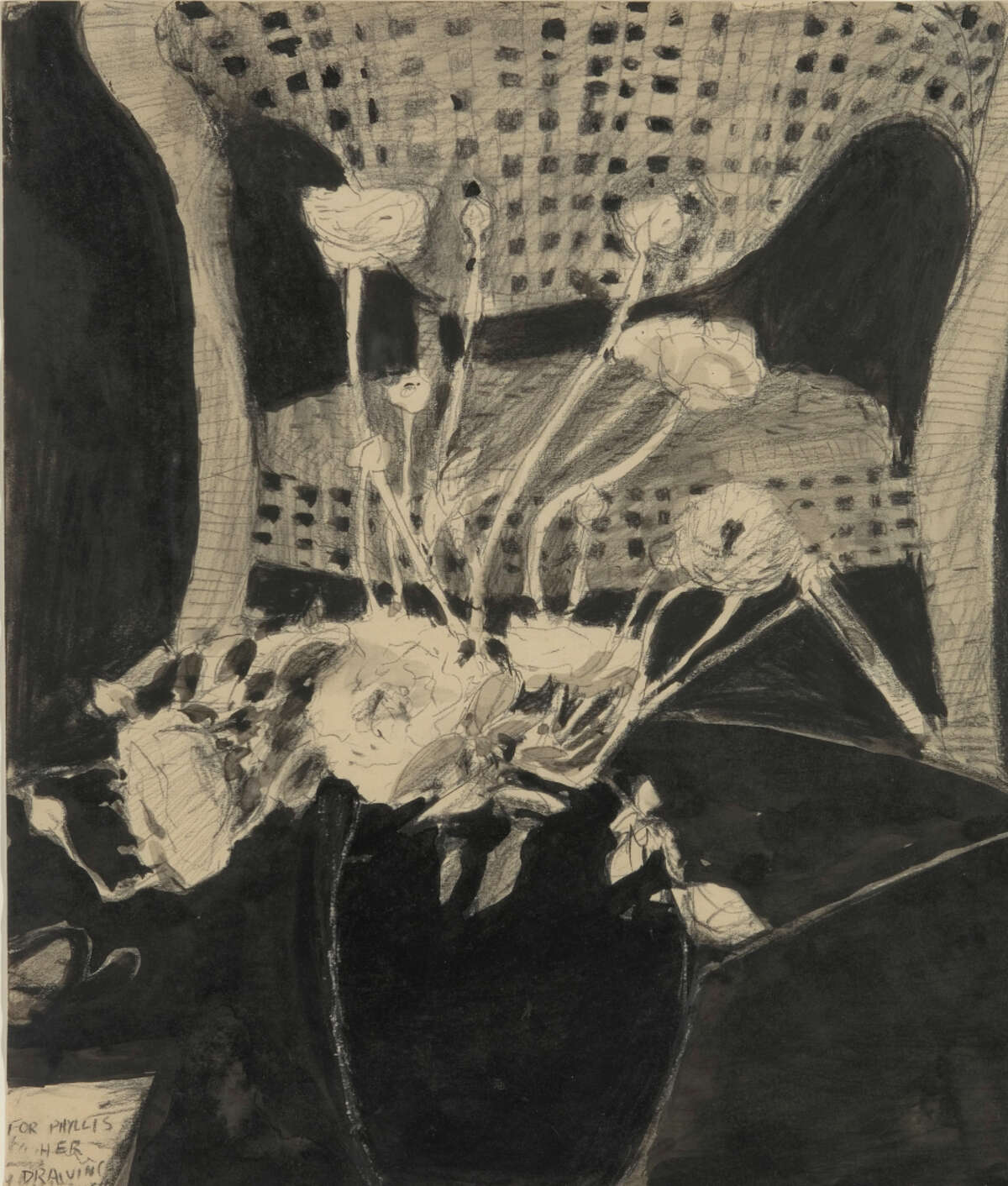 This untitled ink and graphite on paper (1964) from the Grant Family Collection is part of the Richmond Art Center show.