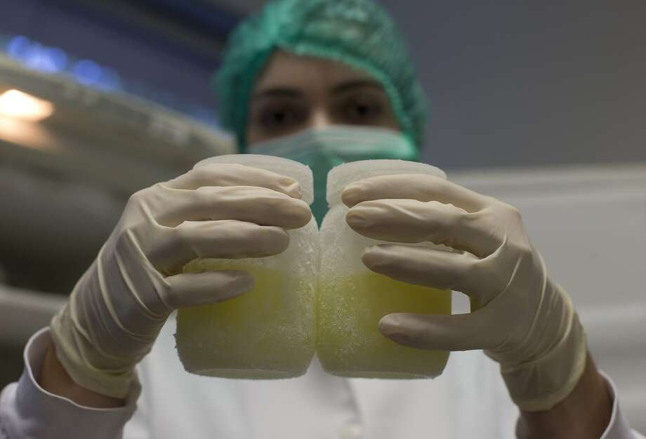 In this Aug. 27, 2014 photo, a lab technician shows containers of frozen human milk at the Fernandes Figueira Institute in Rio de Janeiro, Brazil. A group of American doctors are in Brazil to learn how the country's extensive milk bank system works. With more than 200 such banks nationwide, where breast-feeding women can donate milk that is then pasteurized and used in neo-natal facilities, Brazil has cut down dramatically in infant mortality. Doctors in the U.S. are looking to duplicate Brazil's success. (AP Photo/Silvia Izquierdo) Photo: Silvia Izquierdo, Associated Press