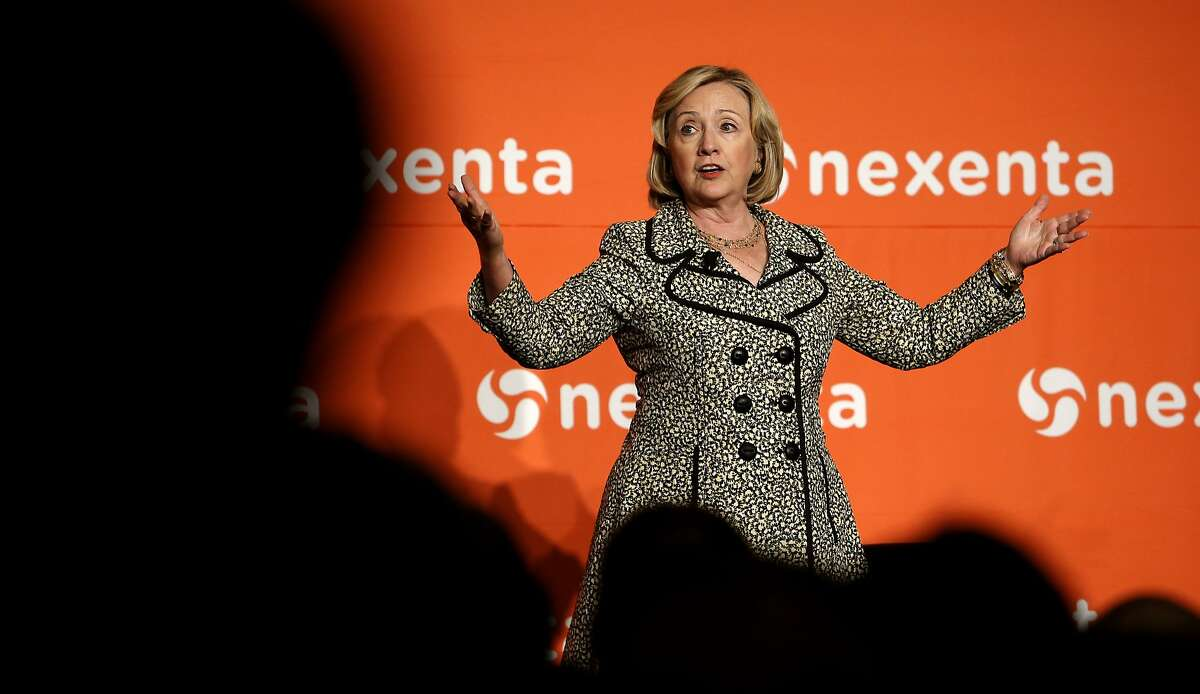 Former Secretary of State Hillary Rodham Clinton speaks during the Nexenta OpenSDx Summit at the St. Regis Hotel in San Francisco, Calif., on Thursday Aug. 28, 2014.