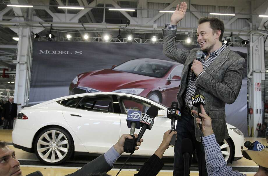 Tesla CEO Elon Musk, shown at the Fremont factory in 2012, pushed for incentives from Nevada. Photo: Paul Sakuma, Associated Press