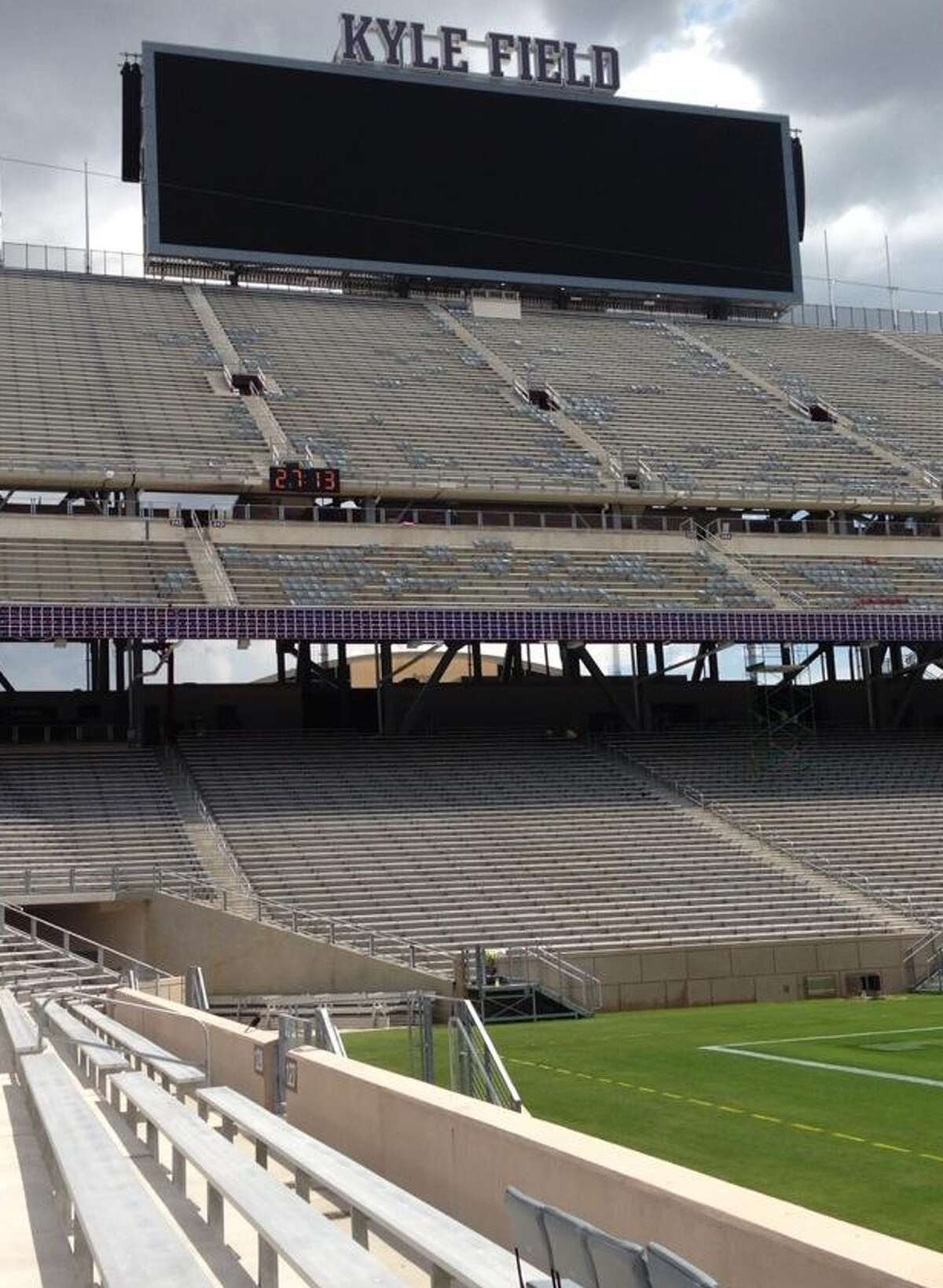 Kyle Field video board from east side, 4th row 20 yard line.
