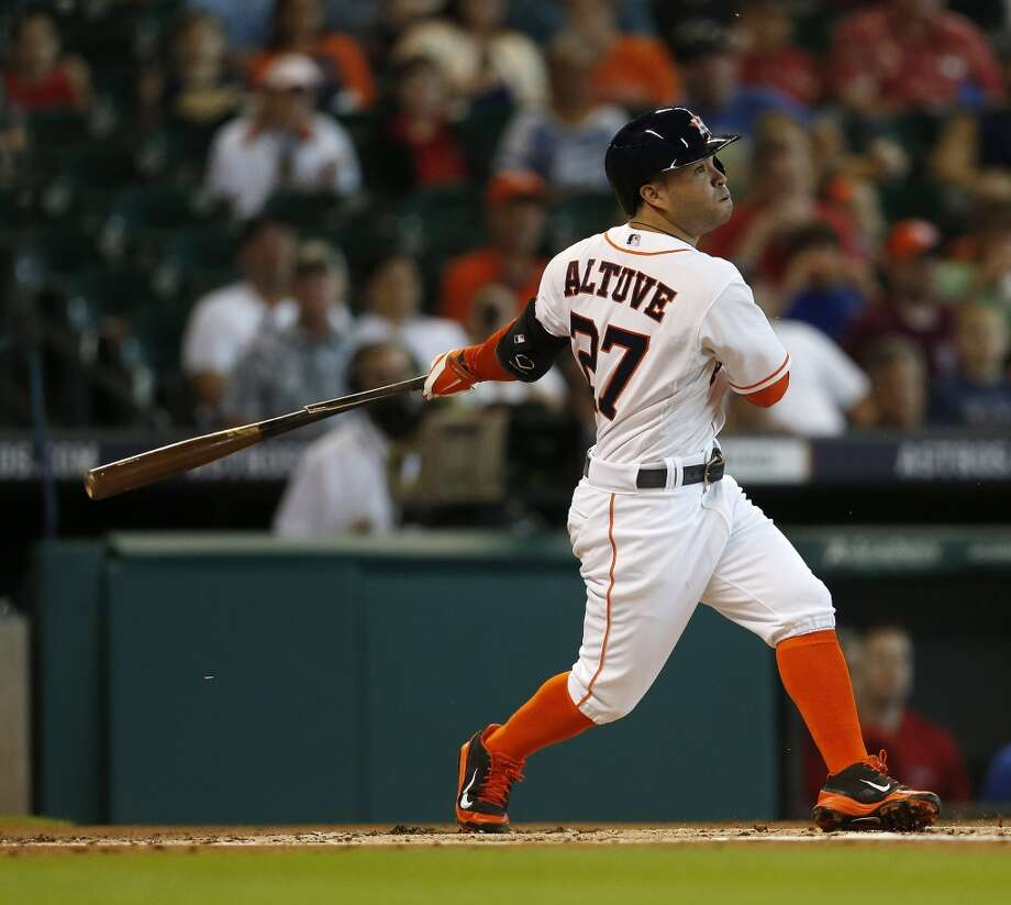 2B Jose Altuve, Houston Astros (61-79)  Avg.: .340 AL rank (1)  Runs: 76 (14)  Hits: 194 (1)  2B: 39 (2)  HR: 7 (88)  RBI: 47 (61)  SB: 50 (1)  WAR: 4.9 (7) Photo: Karen Warren, Houston Chronicle
