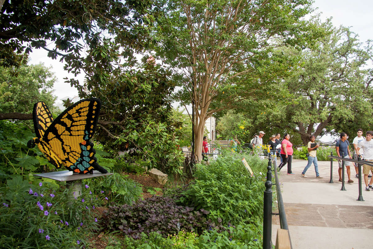 """A Tiger Swallowtail Butterfly made of LEGO pieces Wednesday September, 3, 2014 at the San Antonio Botanical Gardens. The butterfly is one of 27 garden-inspired LEGO structures in the ?'Nature Connects?"""" exhibit that opens this Saturday"""