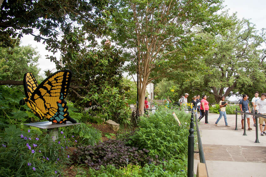 A Tiger Swallowtail Butterfly made of LEGO pieces Wednesday September, 3, 2014 at the San Antonio Botanical Gardens. The butterfly is one of 27 garden-inspired LEGO structures in the ?'Nature Connects?