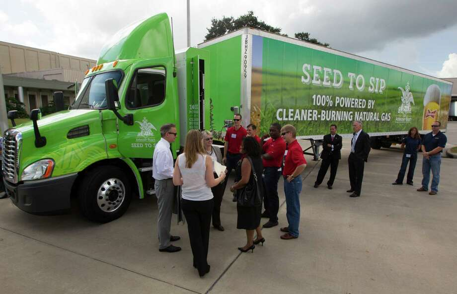 Anheuser-Busch had a ceremony Thursday marking its announcement that its local heavy truck fleet will be fueled by compressed natural gas instead of diesel. Photo: J. Patric Schneider, Freelance / © 2014 Houston Chronicle
