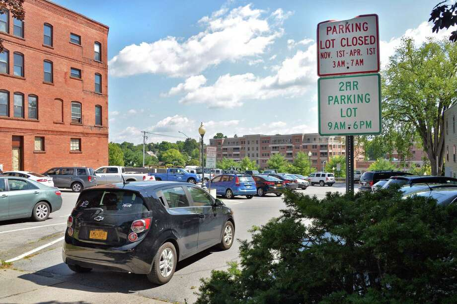 Entrance to the Collamer parking lot on Broadway that the city recently sold for $775,000, Wednesday Sept. 3, 2014, in Saratoga Springs, NY.  (John Carl D'Annibale / Times Union) Photo: John Carl D'Annibale / 00028454A