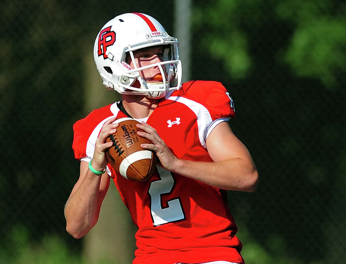 Fairfield Prep QB Colton Smith, during football scrimage action against Staples in Westport, Conn. on Thursday September 4, 2014.