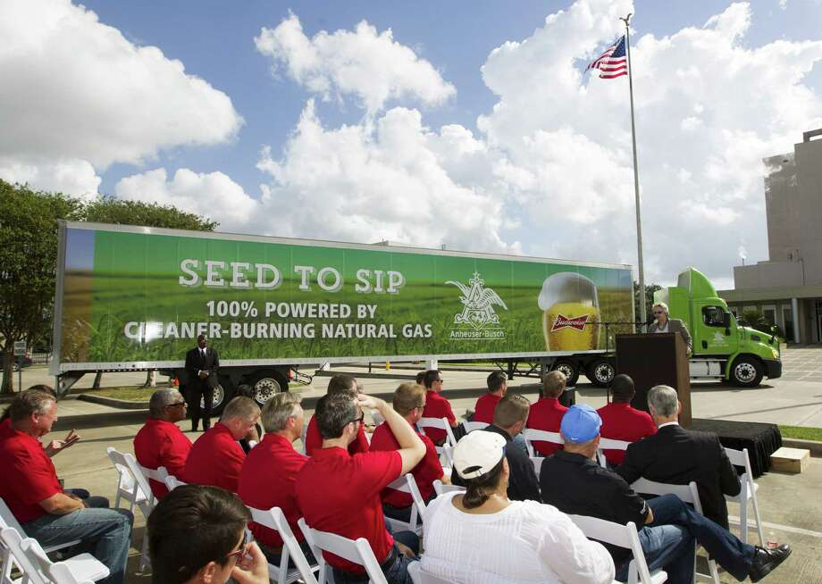 Houston Mayor Annise Parker speaks during a ceremony marking Anheuser-Busch's conversion of its entire Houston fleet of truck tractors to compressed natural gas-powered engines. Photo: J. Patric Schneider / For The Houston Chronicle / © 2014 Houston Chronicle