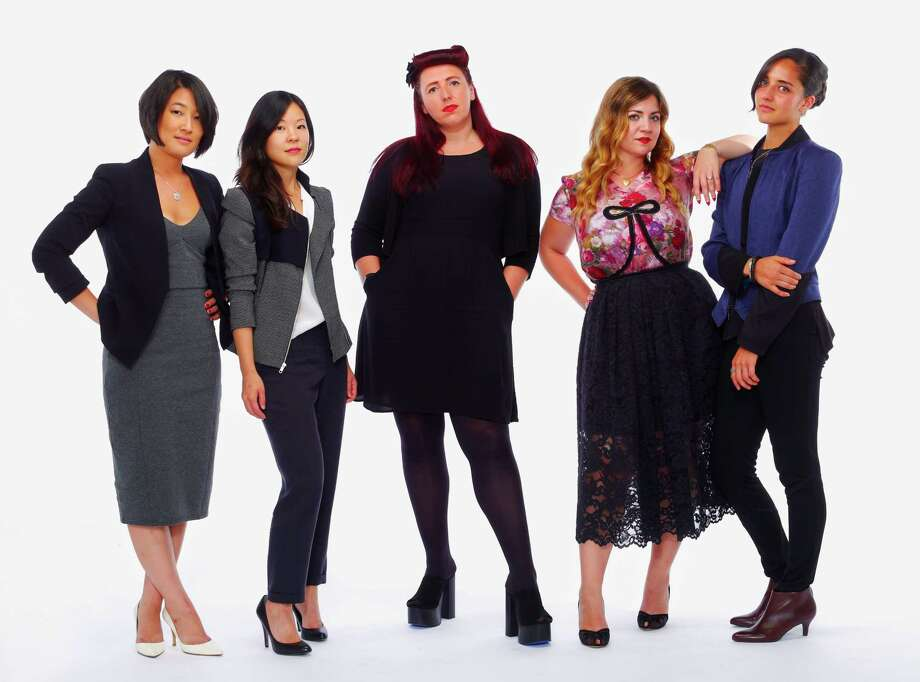 Fashion Incubator of SF designers Dahae Kim, left, Anna Min, Amanda Scarlett Smith, Stephanie Bodnar, and Lia Larrea are seen on Monday, Aug. 25, 2014 in San Francisco, Calif. Photo: Russell Yip, Staff / The Chronicle / ONLINE_YES