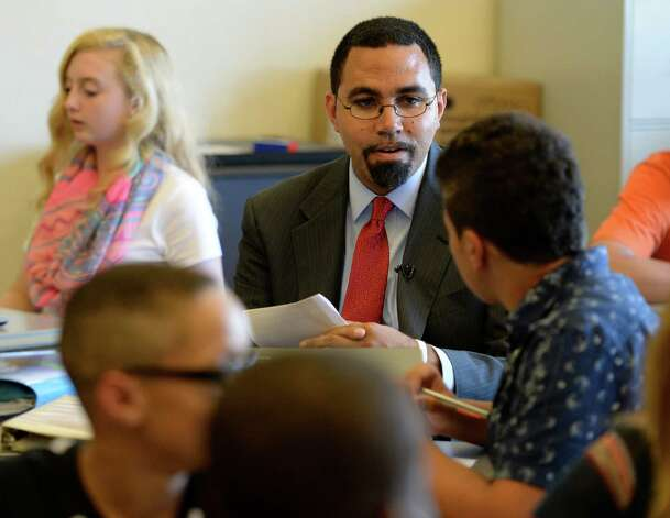 NYS Commissioner of Education John B. King Jr. visits the inaugural class of the Troy Riverfront  P-tech program Thursday afternoon  Sept. 4, 2014, at Troy High School in Troy, N.Y.   (Skip Dickstein/Times Union) Photo: SKIP DICKSTEIN / 00028475A
