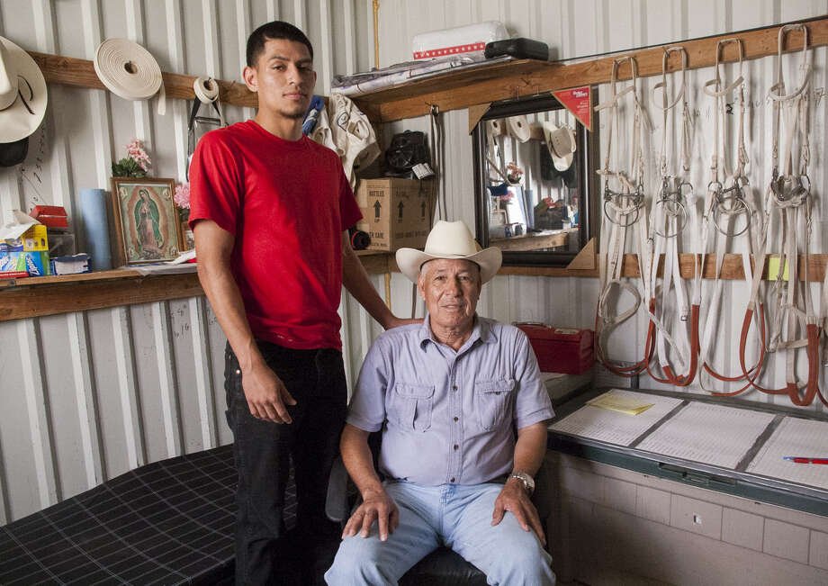 "Jay Torrez (left) hopes to follow in the footsteps his father, 66-year-old thoroughbred trainer Jerenesto Torrez. ""It's going to be tough to match what he's accomplished,"" Jay Torrez said. Photo: Julysa Sosa / For The Express-News / Julysa Sosa For the San Antonio Express-News"