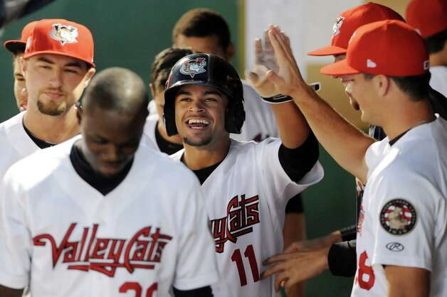 ValleyCats' Jason Martin celebrates a run in the dugout during their baseball game against the Tigers on Thursday, Sept. 4, 2014, at Bruno Stadium in Troy, N.Y. (Cindy Schultz / Times Union) Photo: Cindy Schultz / 00028411A