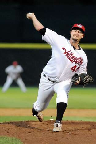 ValleyCats' Austin Chrismon winds up the pitch during their baseball game against the Tigers on Thursday, Sept. 4, 2014, at Bruno Stadium in Troy, N.Y. (Cindy Schultz / Times Union) Photo: Cindy Schultz / 00028411A