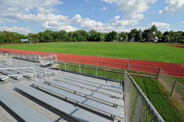 View of the Cohoes football field from the bleachers on Wednesday, Sept. 3, 2014 in Cohoes, N.Y.  Cohoes will not playing a home game until Week 7 because of drainage problems on this field. (Lori Van Buren / Times Union) Photo: Lori Van Buren / 00028442A