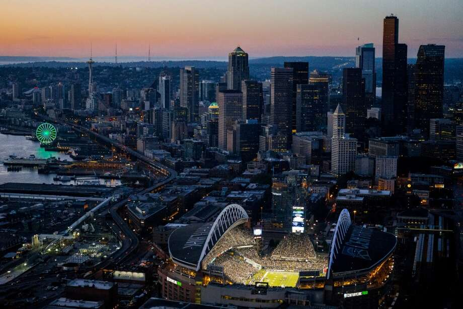 bbd9a6117 CenturyLink Field is shown as the Seattle Seahawks kick off the NFL season  against the Green