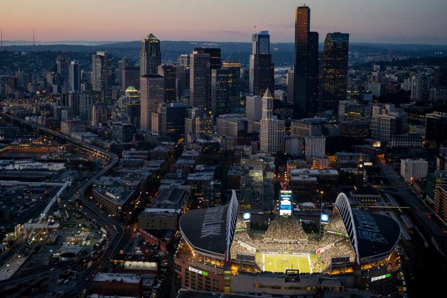 An aerial view over CenturyLink Field of the Seattle Seahawks season opener game against the Green Bay Packers Thursday, September 4, 2014, in Seattle, Washington. The Seahawks won the game 36-16. (Jordan Stead, seattlepi.com) Photo: JORDAN STEAD, SEATTLEPI.COM