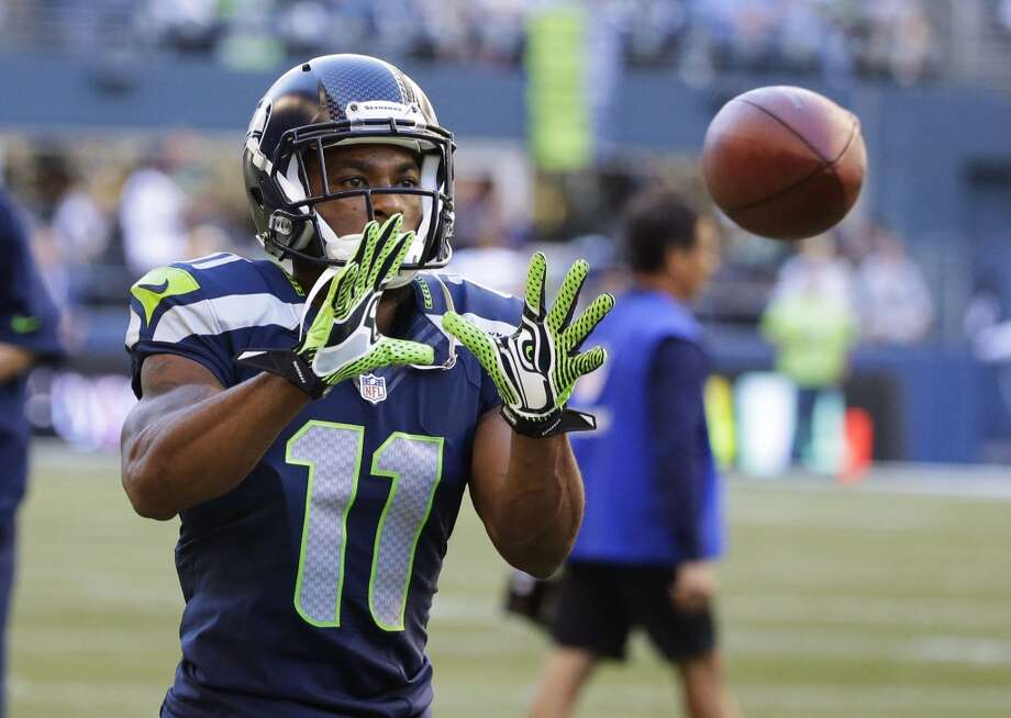 Seattle Seahawks wide receiver Percy Harvin catches a pass during warm-ups for an NFL football game against the Green Bay Packers, Thursday, Sept. 4, 2014, in Seattle. (AP Photo/Elaine Thompson) Photo: Elaine Thompson, AP