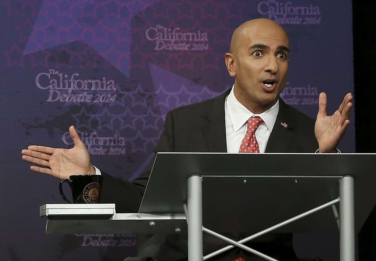 Republican challenger Neel Kashkari speaks during a gubernatorial debate with Gov. JerryBrown in Sacramento, Calif., Thursday, Sept. 4, 2014. Thursday's debate is likely to be the only one of the general election. (AP Photo/Rich Pedroncelli, Pool)