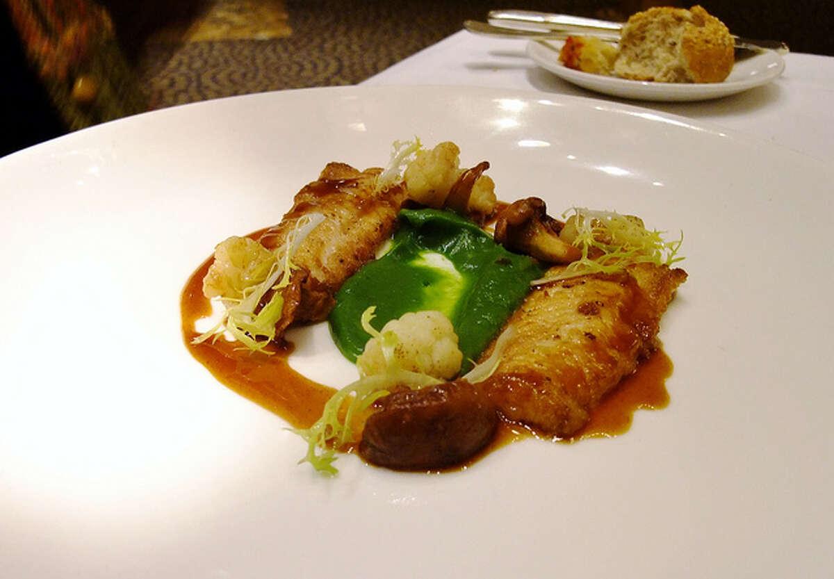 Tony's Cuisine: Italian Dish: pan-seared Dover sole with antelope jus, chanterelles, cauliflower and broccoli puree Entree price: $$$ Where: 3755 Richmond Phone: 713-622-6778 Website: tonyshouston.com
