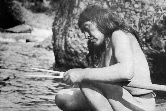 Ishi making a wood harpoon, Deer Creek, 1914.     Ishi, considered the last aboriginal California Indian, in Tehama County, in 1914. He was found near Oroville in 1911 and taken in by anthropologist Alfred Kroeber.
