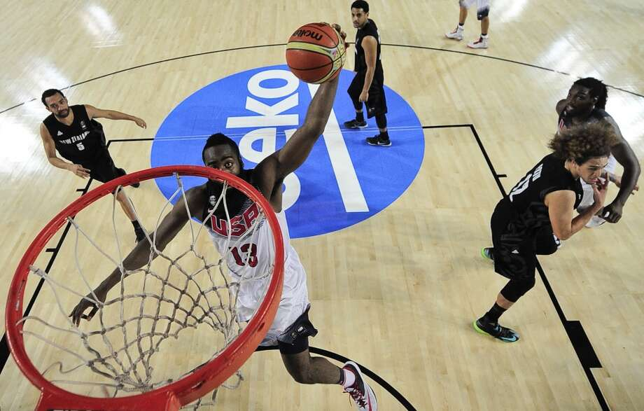 James Harden of the U.S dunks against New Zealand during the Group C Basketball World Cup match, in Bilbao northern Spain, Tuesday, Sept. 2, 2014. The 2014 Basketball World Cup competition take place in various cities in Spain from  last Aug. 30 through to Sept. 14. (AP Photo/Alvaro Barrientos) Photo: Associated Press