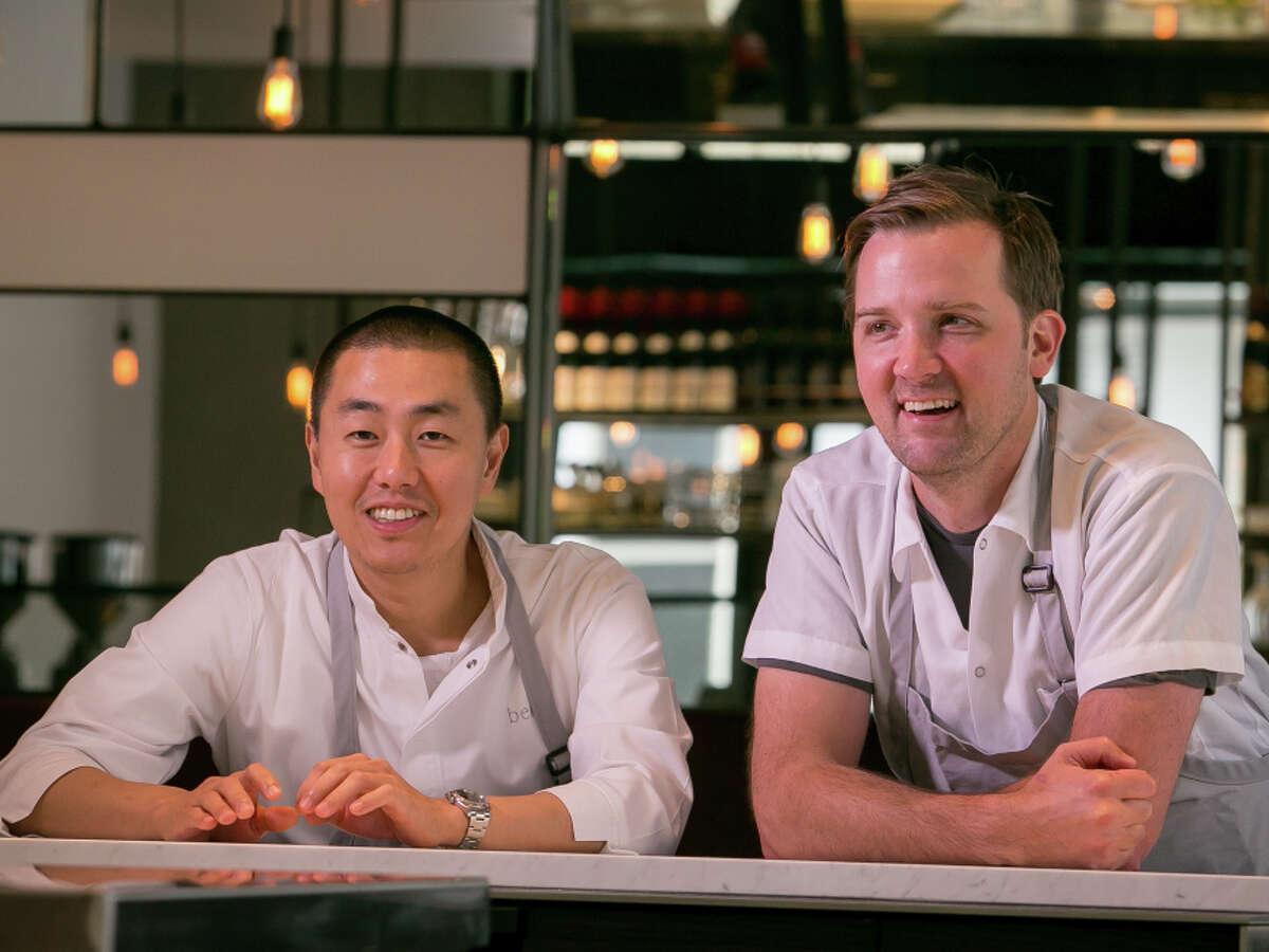 Chef Jason Berthold, right, with chef Corey Lee at Monsieur Benjamin in San Francisco.