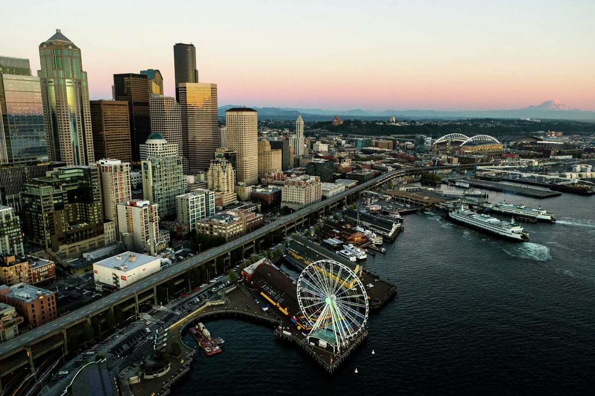 An aerial view over Seattle on the evening of the Seahawks' season opener against the Green Bay Packers, Thursday, Sept. 4, 2014.
