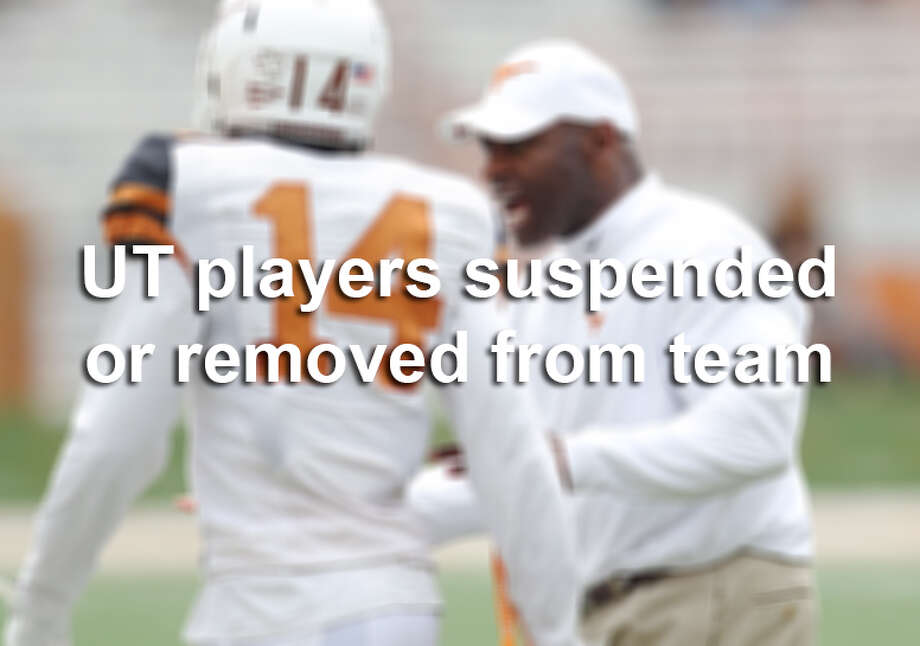 Since Charlie Strong took over as UT's head coach in January, he's kicked seven players off the team, and four more remain on suspension. Photo: Kin Man Hui, San Antonio Express-News / ©2014 San Antonio Express-News