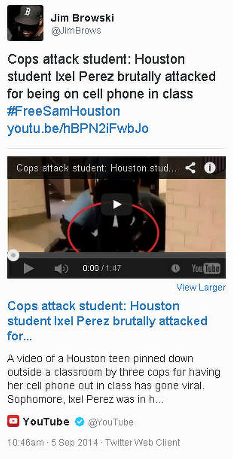 This tweet, including a video of a confrontation at Sam Houston High School, was posted Sept. 5, 2014.