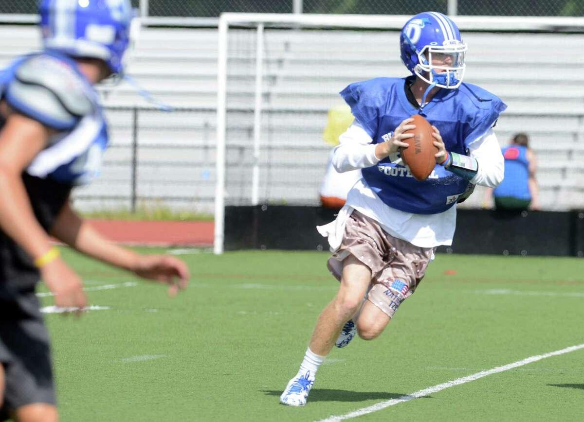 Darien quarterback Tim Graham during football practice Wednesday, Sept. 3, 2014, at Darien High School.