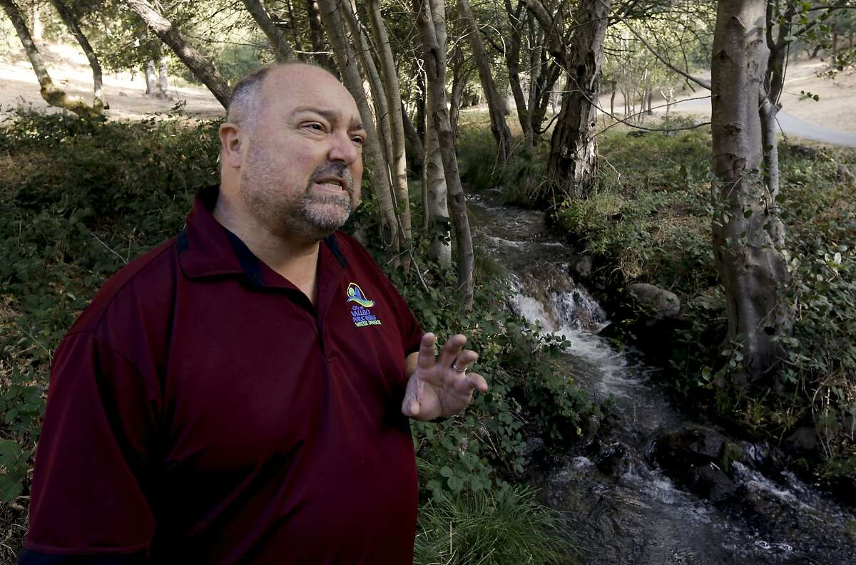 Vallejo's assistant public works director/water, Franz Nestlerode along Wild Horse Creek which flows through the Green Valley in Fairfield, Calif., as seen on Friday Sept. 5, 2014. Normally dry this time of year Wild Horse Creek is suddenly flowing with water after the August 24, 2014 Napa earthquake.