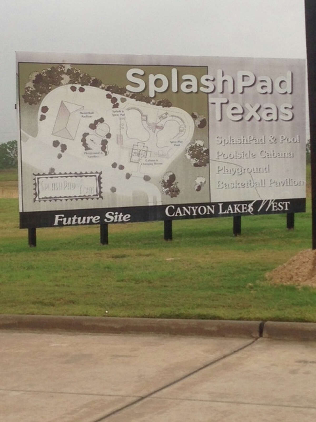 The original sign that sat on the two acres advertising the amenities for a neighborhood in Canyon Lakes West, a master-planned community by Land Tejas. (Andrea Vickers photo)