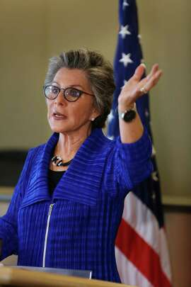 U.S. Senator Barbara Boxer  speaks during a press conference at the Ferry Building on Friday, September 5,  2014 in San Francisco, Calif.