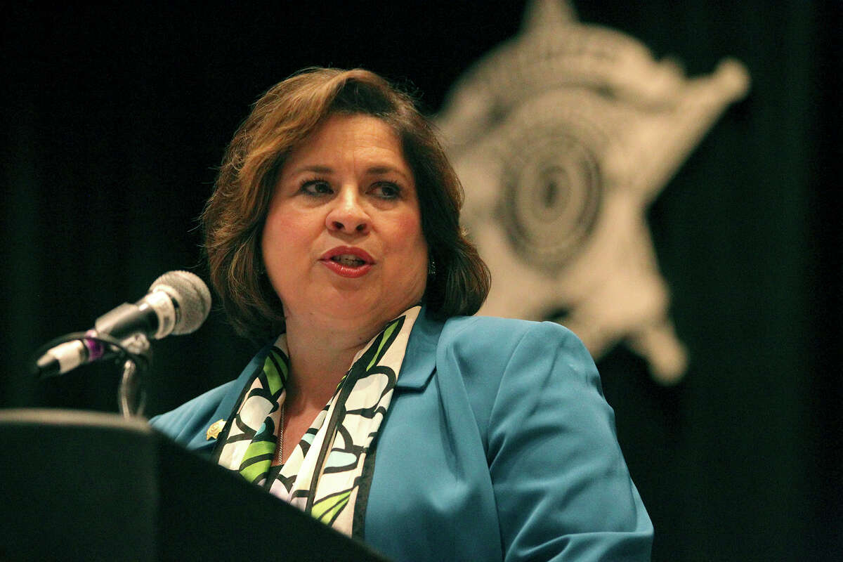 Senator Leticia Van de Putte, Democratic nominee for Lt. Governor of Texas, speaks Monday July 28, 2014 during the Annual Training Conference for the Sheriffs' Association of Texas. The conference is taking place at the Henry B. Gonzalez Convention Center.