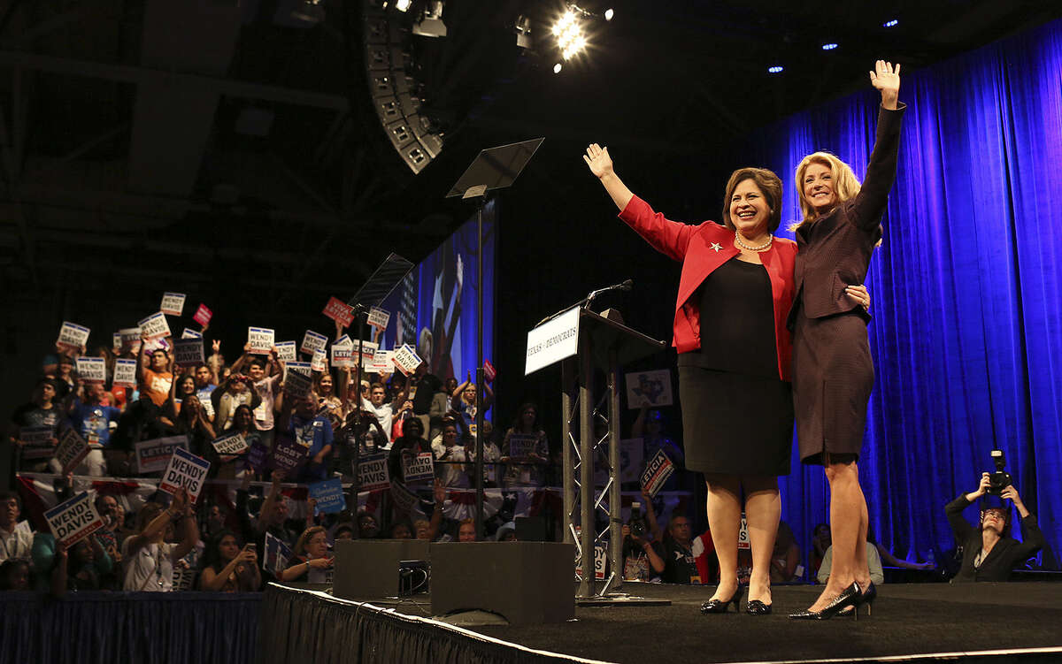 Leticia Van de Putte and gubernatorial candidate Sen. Wendy Davis (right) at the Texas Democratic State Convention in June.