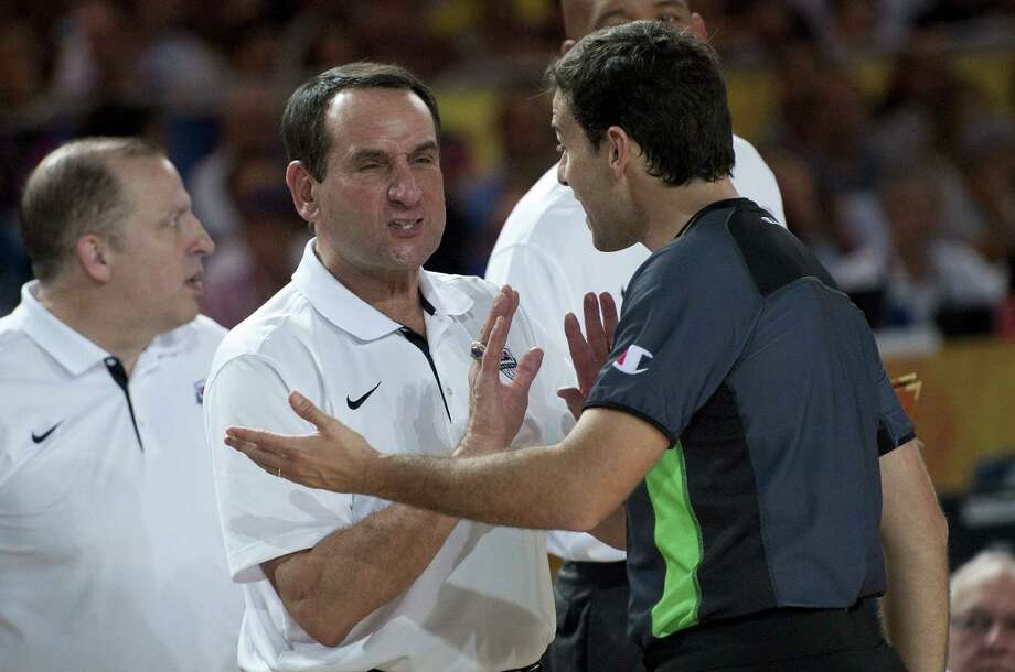 U.S. coach Mike Krzyzewski (center) was an assistant on the 1992 U.S. Olympic team, also known as the Dream Team. Photo: Alvaro Barrientos / Associated Press / AP