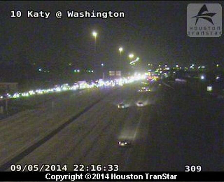 Traffic was backed up along the Katy Freeway at Washington after a deadly crash Friday night. Photo: TranStar
