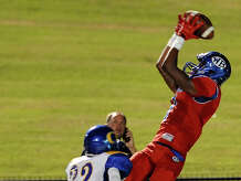 West Brook Bruin Keith Corbin, 1, jumps for a reception and a possible 3rd TD in the 1st quarter, but is out of bounds at the Carroll Thomas Stadium Friday night. Photo by Drew Loker.