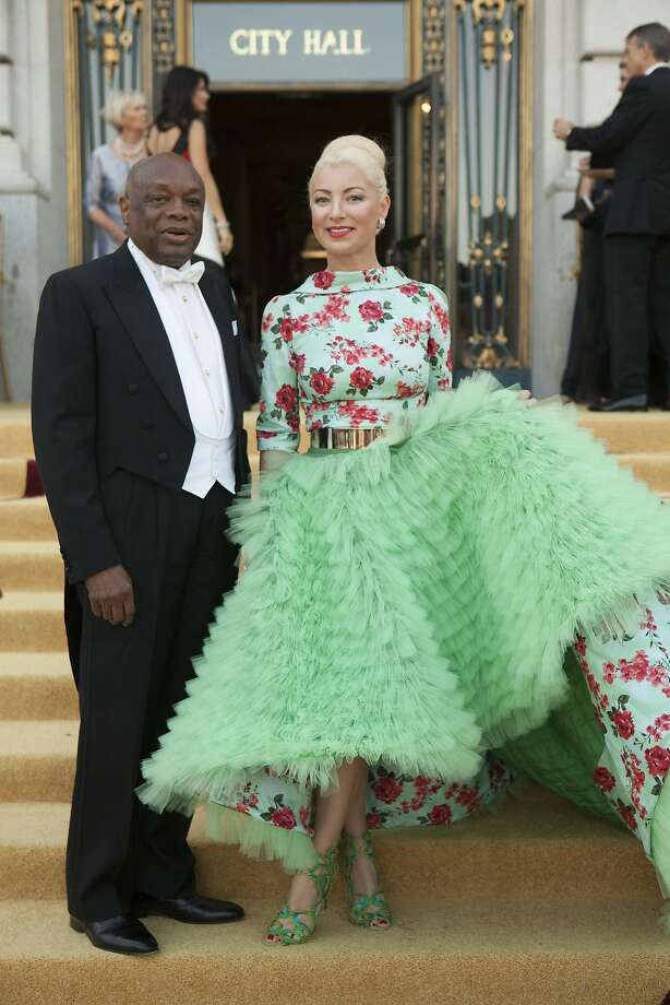 Former San Francisco Mayor Willie Brown and Sonya Molodetskaya stand on the steps of City Hall in San Francisco after arriving at the San Francisco Opera's season opening ball on Friday, Sept. 5, 2014. Molodetskaya wore a gown by Vasily Vein. Photo: Alex Washburn, Special To The Chronicle
