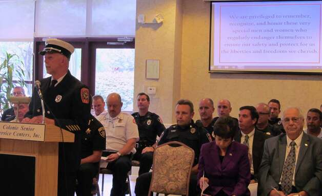 Thomas With of the Fuller Road Fire Department addresses seniors who gathered at the Beltrone Living Center on Sept. 3 for Colonie Senior Service Centers' Annual Remember Those Who Keep Us Safe ceremony. Each year the event is held to honor Colonie's local departments. (Submitted photo)