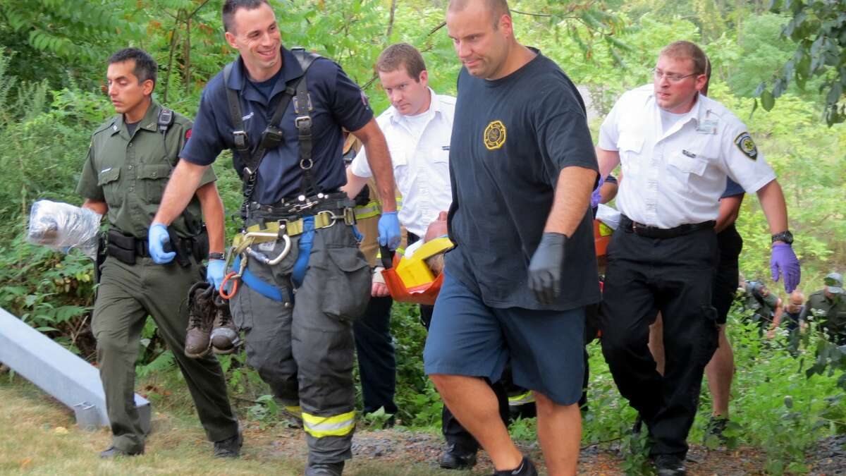 An 86-year-old man was found late in the afternoon in a ditch across from the Riverview Center at 150 Broadway by New York state Forest Rangers and sent to Albany Medical Center Hospital for evaluation. (Tom Heffernan Sr. / Special to the Times Union)