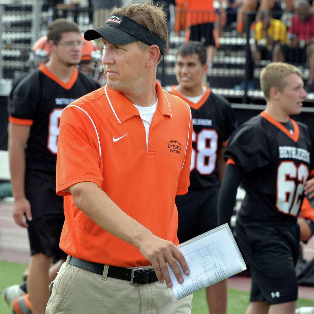 Bethlehem head coach Rick Leach on the sidelines during Saturday's game against Albany High Sept. 6, 2014, at Union College's Frank Bailey Field in Schenectady,NY. (John Carl D'Annibale / Times Union)