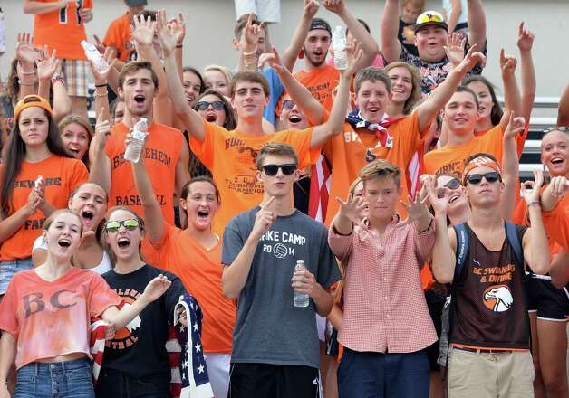 Bethlehem fans cheer their team during Saturday's game against Albany High Sept. 6, 2014, at Union College's Frank Bailey Field in Schenectady,NY.  (John Carl D'Annibale / Times Union) Photo: John Carl D'Annibale / 00028439A