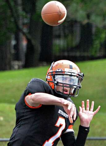 Bethlehem quarterback Nick Crisorio completes a pass during Saturday's game against Albany High Sept. 6, 2014, at Union College's Frank Bailey Field in Schenectady,NY.  (John Carl D'Annibale / Times Union) Photo: John Carl D'Annibale / 00028439A