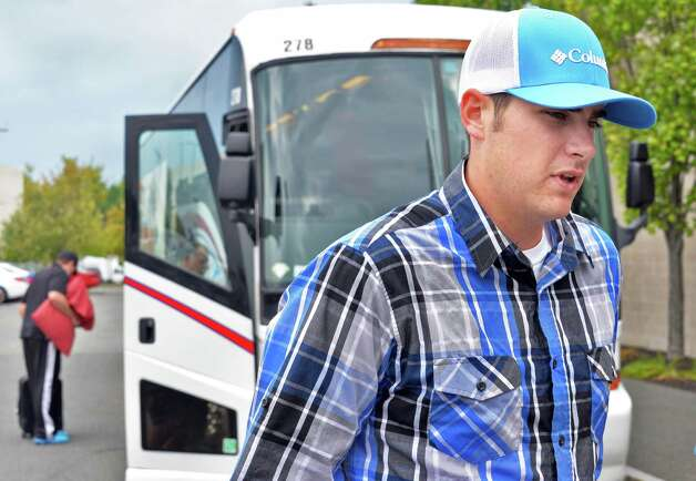 Tri-City ValleyCats closer Ryan Thompson speaks with reporters before boarding the bus taking them  to Game 1 of the New York-Penn League championship series at Bruno Stadium Saturday Sept. 6, 2014, in Troy, NY.  (John Carl D'Annibale / Times Union) Photo: John Carl D'Annibale / 00028497A