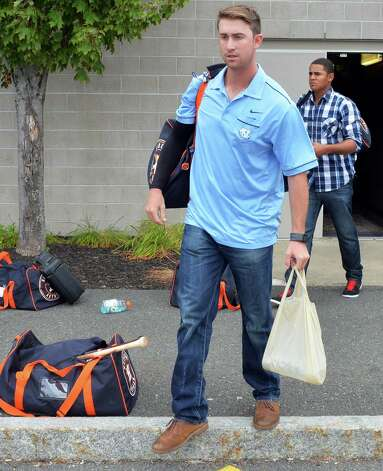 Tri-City ValleyCats player Chris Munnelly makes his way to the bus to on their way to Game 1 of the New York-Penn League championship series at Bruno Stadium Saturday Sept. 6, 2014, in Troy, NY.  (John Carl D'Annibale / Times Union) Photo: John Carl D'Annibale / 00028497A