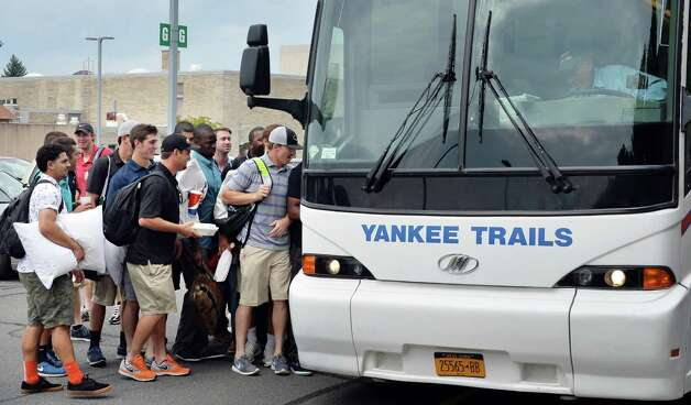 Tri-City ValleyCats players and coaches board the bus to on their way to Game 1 of the New York-Penn League championship series at Bruno Stadium Saturday Sept. 6, 2014, in Troy, NY.  (John Carl D'Annibale / Times Union) Photo: John Carl D'Annibale / 00028497A