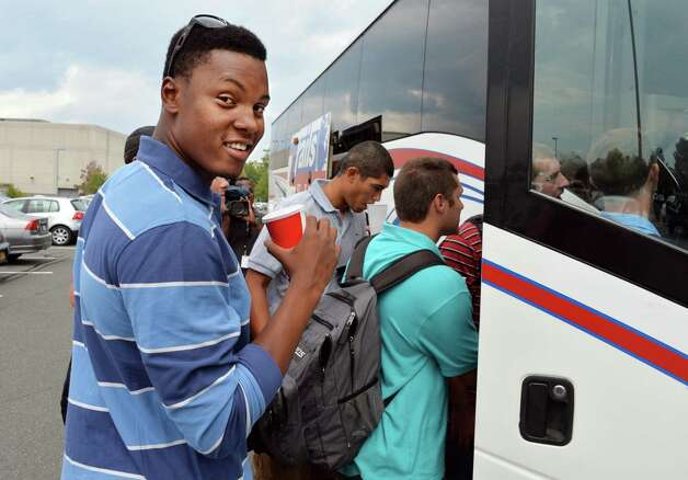 Tri-City ValleyCats player Francis Ramirez and team mates board the bus on their way to Game 1 of the New York-Penn League championship series at Bruno Stadium Saturday Sept. 6, 2014, in Troy, NY.  (John Carl D'Annibale / Times Union) Photo: John Carl D'Annibale / 00028497A